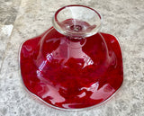"Murano Style Ruby Red Cased Art Glass 9"" Pedestal Bowl with Ruffled Edges"