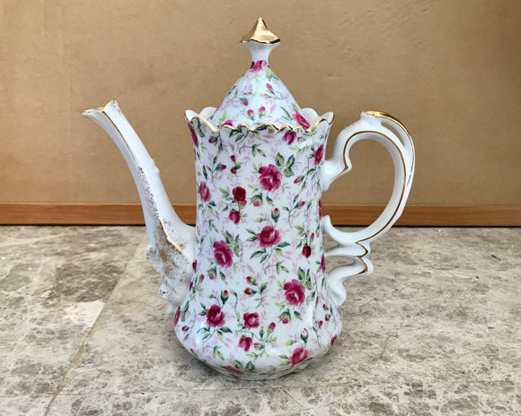 Lefton Hand Painted Rose Chintz Pattern 4 Cup Teapot NE660