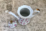 Lefton Hand Painted Rose Chintz Pattern 4 Cup Teapot NE660 - Nature Land Candles