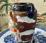 Satsuma Moriage Raised Relief Elephant and Geisha Cobalt Blue and Brown Signed Vase - Nature Land Candles