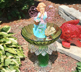 Repurposed Depression Glass Garden Ceramic, Porcelain and Glass Bottle Art with Angel - Nature Land Candles