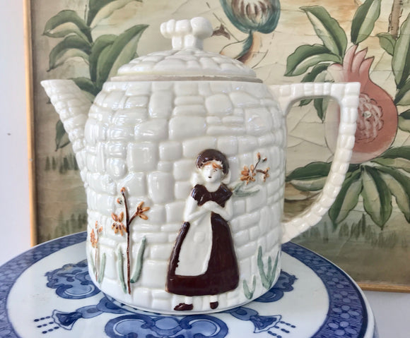 Porcelier Cobblestone Pattern Girl Against the Wall with Flowers 8 Cup Teapot