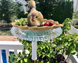Repurposed Garden Milk Glass Bottle Art with Bird, Frog and Cherries