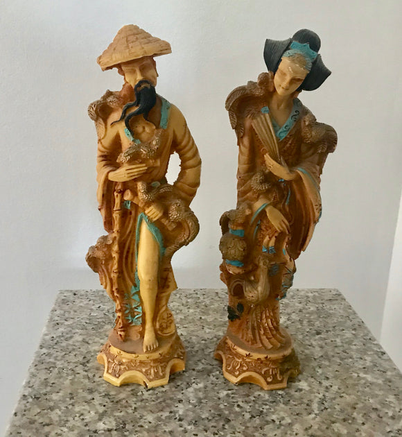 Artmark Italy Asian Man and Woman with Birds and Turquoise Trim Faux Bone Resin Figurine - Nature Land Candles