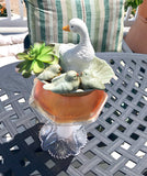 Repurposed Garden Milk Glass Bottle Art with White Duck, Birds and Green Grass Succulent