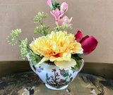 Decorative Planter with Multi-Colored Flowers in a John Maddock Royal Vitreous Sugar Bowl - Nature Land Candles