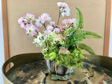 Decorative Planter with a Ferns with Pink and White flowers in a Ceramic Basket With 2 Birds - Nature Land Candles