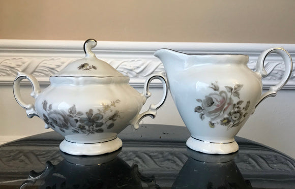 Winterling Bavaria Empress Platinum Trim Creamer and Sugar Bowl