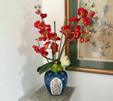 Floral Arrangement with Silk Orange Orchids & White Flower in Chinese Cobalt Blue Vase - Nature Land Candles