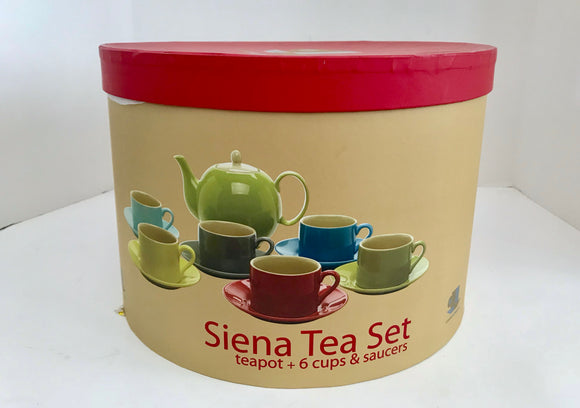 Classic Coffee & Tea Siena 13 Piece Stoneware Tea Set with Original Box - Nature Land Candles