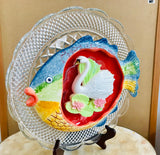 Repurposed Garden Yard Art with Colorful Ceramic Fish and Swan
