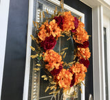 Festive Door Wreath with Artificial Red Roses and Gold Hydrenias on a bed of Yellow Flowers - Nature Land Candles