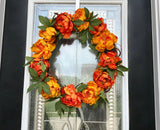 Festive Fall Door Wreath with Artificial Gold and Orange Flowers - Nature Land Candles