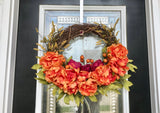 Door Wreath with Purple and Orange Roses with Orange Balls and Yellow Flowers - Nature Land Candles