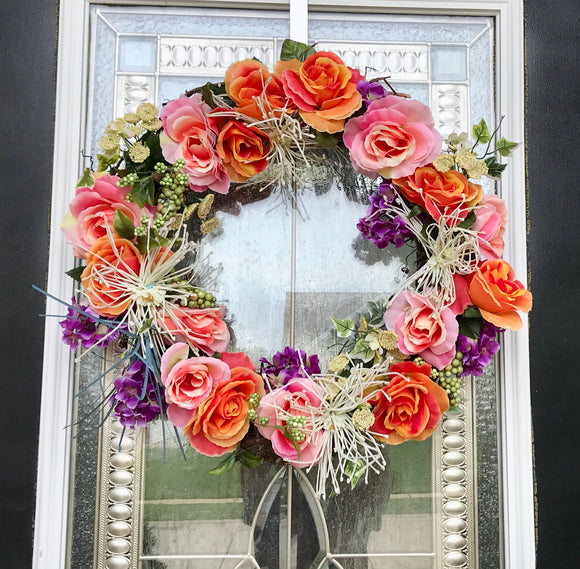 Festive Fall Door Wreath with Artificial Pink and Orange Roses Purple and White Flowers - Nature Land Candles