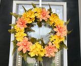 Door Wreath with Artificial Peach Roses and Yellow Flowers in a Bed of Green Leaves - Nature Land Candles