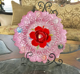 "Garden Yard Art with 13"" Pink and Silver Reflective Bowl with Red Tulip - Nature Land Candles"