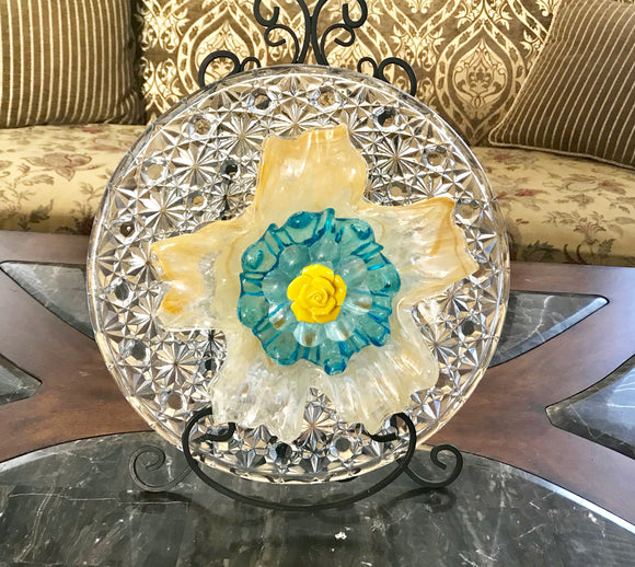 Garden Yard Art Cut Glass Plate and Murano Cased Glass Bowl