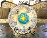 Garden Yard Art Cut Glass Plate and Murano Cased Glass Bowl - Nature Land Candles
