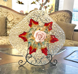 Garden Yard Art Blue Crackle Plate Art Glass Leaf, Murano bowl and Pink Rose - Nature Land Candles