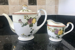 Hakusan China Purple and Yellow Flowers 4 Cup Coffee/Teapot and Creamer with Gold and Maroon Trim - Nature Land Candles