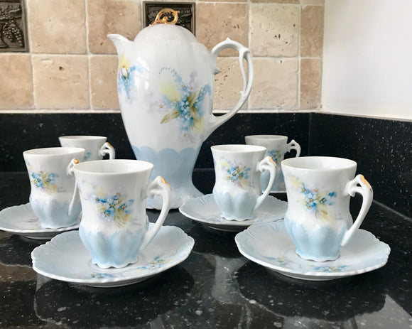 Vintage Baby Blue and White Floral Chocolate Coffee Pot Set Signed by Ruby Brady - Nature Land Candles