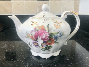 Porcelain Japan floral Musical 4 Cup Teapot with Gold Trim - Nature Land Candles