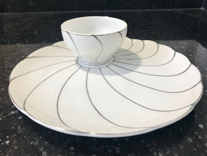 "White Eggshell Tea Cup with Platinum Swirl Pattern and 9"" Matching Shell Snack Plate"