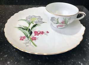 "White Eggshell Tea Cup with Gray and Purple Flowers and Matching 8 1/2"" Snack Plate - Nature Land Candles"