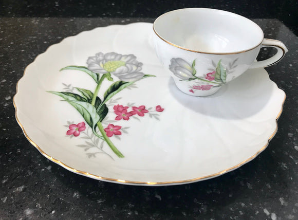 White Eggshell Tea Cup with Gray and Purple Flowers and Matching 8 1/2