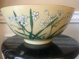 "TFF Decorated in Hong Kong White Daffodil Flower 10 1/4"" Porcelain Ware Bowl"