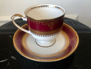 Haengnam SA Korean Ultra Fine Maroon and Gold Tea Cup and Saucer - Nature Land Candles