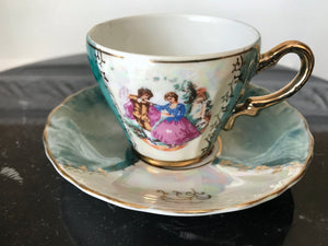 Lusterware Japan Hand Painted Courting Couple Demitasse Tea Cup & Saucer - Nature Land Candles