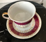 Lugenes Japan Lusterware Maroon and Gold Fine Bone China Pedestal Teacup and Saucer - Nature Land Candles