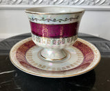 Lugenes Japan Lusterware Maroon and Gold Fine Bone China Pedestal Teacup and Saucer