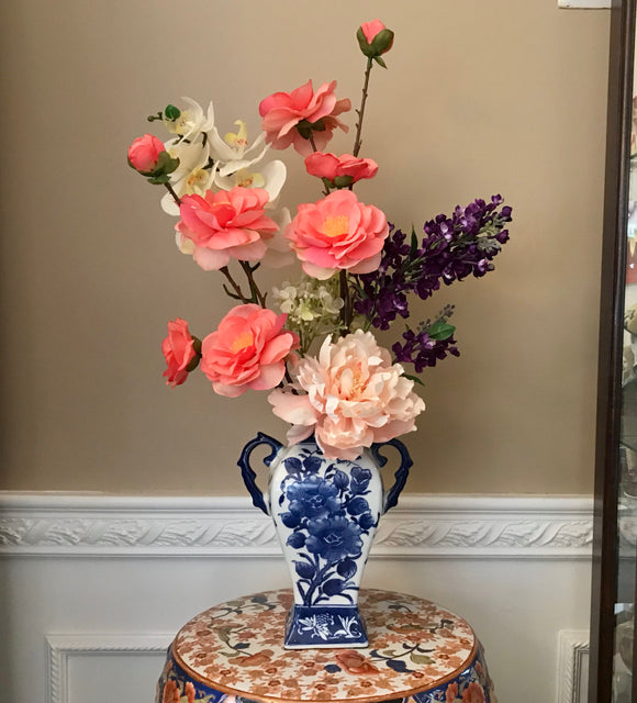 Floral Arrangement with Multi-Colored Silk Flowers in a Blue and White Floral Vase