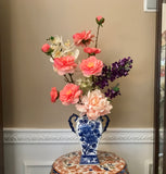 Floral Arrangement with Multi-Colored Silk Flowers in a Blue and White Floral Vase - Nature Land Candles