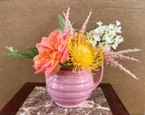 Floral Arrangement with Multi-Colored Silk Flowers in a Vintage Pink Teapot - Nature Land Candles