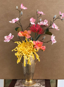 Floral Arrangement with Multi-Colored Silk Flowers in a Gold Colored Floral Vase with Handles - Nature Land Candles