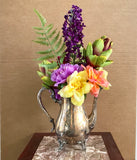 Floral Arrangement with Multi-Colored Silk Flowers WM Rogers Silver Plated Coffee Pot - Nature Land Candles