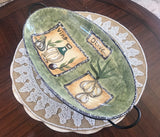 "CIB Olive and Garlic Oval 13"" Serving Dish with Wire Rack - Nature Land Candles"