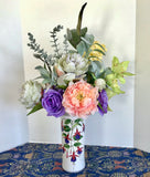 Floral Arrangement Centerpiece with Multi-Colored Silk Flowers in a Floral Vase
