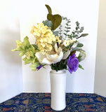Floral Arrangement Centerpiece with Multi-Colored Silk Flowers in a Floral Vase - Nature Land Candles