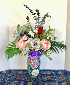 Floral Arrangement Centerpiece with Multi-Colored Silk Flowers in a Blue Floral Vase - Nature Land Candles
