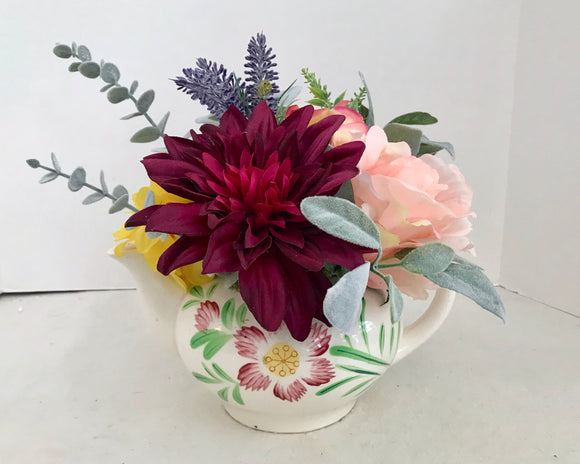 Floral Arrangement with Multi-Colored Silk Flowers in a Vintage Japanese Floral Teapot - Nature Land Candles