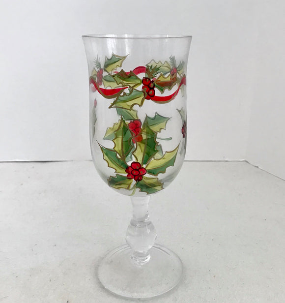 Hand Painted Holly and Berries 12 Ounce Wine/Water Glass - Nature Land Candles
