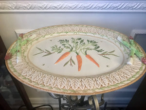 "Fitz and Floyd Classics Le Canard Large 18 3/4"" Wall Platter with Carrots & Asparagus - Nature Land Candles"