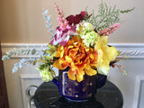 Floral Arrangement with Multi-Colored Silk Flowers Cobalt Blue Japanese Teapot