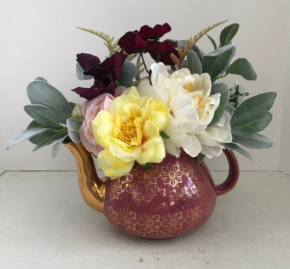 Floral Arrangement with Multi-Colored Silk Flowers in a Pink and Gold 6 Cup Hall Teapot - Nature Land Candles