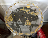 "Mikasa Christmas Village 15"" Gold Embossed Frosted Christmas Platter With Original Box"